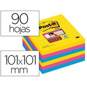 Bloc de notas adesivas post-it super sticky 101x101 mm com 90 folhas pautado pack de 6 bloco cores sortidas