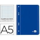Caderno espiral liderpapel capa azul 80 fls.a5 quad