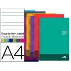 Caderno espiral liderpapel a4 micro discover capa cartao 80f 80g horizontal dupla margem 4 furos cores sortidas