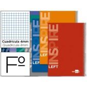 Caderno espiral liderpapel folio inspire capa rija 80f 60g quadricula 4mm com margem. para esquerdinos. cores sortidas