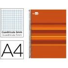 Caderno espiral liderpapel classic a4 160 fls 60g quadriculado 5 mm-5cores-4 furos capa forrada laranja