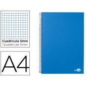 Caderno espiral liderpapel a4 micro papercoat capa forrada 160f 70g quadricula 5mm 5 bandas 4 furos. celeste