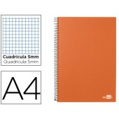 Caderno espiral liderpapel a4 micro papercoat capa forrada 160f 70g quadriculado 5mm 5 bandas 4 furos. laranja