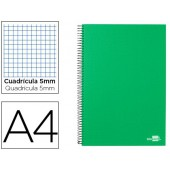 Caderno espiral liderpapel a4 micro papercoat capa forrada 140f 80g quadricula 5mm 5 bandas 4 furos. verde frosty