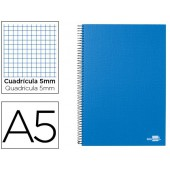Caderno espiral liderpapel a5 micro papercoat capa forrada 160f 70g quadriculado 5mm 5 bandas 6 furos celeste