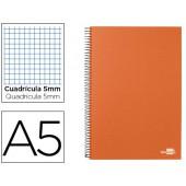 Caderno espiral liderpapel a5 micro papercoat capa forrada 160f 70g quadriculado 5mm 5 bandas 6 furos. laranja