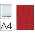 Caderno espiral liderpapel multilider a4 140 fls quad vermelho