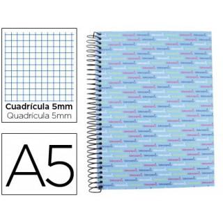 Caderno espiral liderpapel a5 micro multilider capa forrada 140f 80g quadricula 5 mm 5 bandas 6 furos celeste