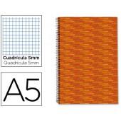 Caderno espiral liderpapel multilider a5 140 fls quadriculado 5 mm -5 col.6 furos. capa forrada laranja 70grs