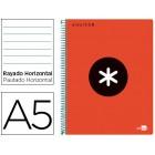 Caderno espiral liderpapel a5 micro antartik capa polipropileno 120 f 100g horizontal 5 bandas 6 furos cor vermelho
