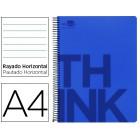 Caderno espiral liderpapel think 160 fls a4 azul pautado