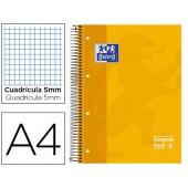 Caderno espiral oxford capa dura microperfurado din a4 80 folhas quadricula 5mm -cor amarelo