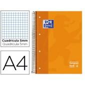 Caderno espiral oxford capa dura microperfurado din a4 80 folhas quadricula 5mm -cor laranja