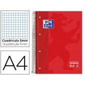 Caderno espiral oxford capa dura microperfurado din a4 80 folhas quadricula 5mm -cor vermelho