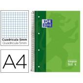 Caderno espiral oxford capa dura microperfurado din a4 80 folhas quadricula 5mm -cor verde