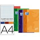 Caderno espiral oxford capa dura microperfurado din a4 80 folhas quadricula 5mm cores sortidas