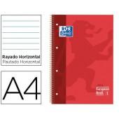 Caderno espiral oxford capa extradura microperfurado din a4 80 folhas pautado cor vermelho