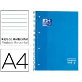 Caderno espiral oxford capa extradura microperfurado din a4 80 folhas pautado cor turquesa