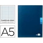 Caderno escolar liderpapel scriptus 48 f din a5 quadriculado 4 mm capa azul papel 90 gr