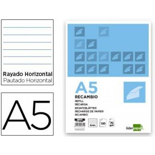 Recarga liderpapel din-a5 120+20 folhas horizontal 6 furos sem margem bandas 5 cores papel 70 gr