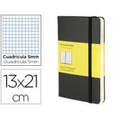 Livro de apontamentos moleskine 13 x21 cm quadriculado 5mm 240 folhas capa dura cor preto fecho elastico