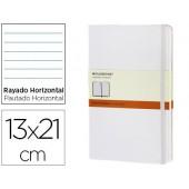 Livro de apontamentos moleskine 13 x21 cm pautado 240 folhas capa dura cor branco fecho elastico