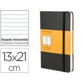 Livro de apontamentos moleskine 13 x21 cm pautado 240 folhas capa dura cor preto fecho elastico