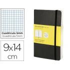 Livro de apontamentos moleskine 9 x14 cm quadriculado 5mm 192 folhas capa flexivel cor preto fecho elastico