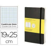 Livro de apontamentos moleskine 19 x 25 cm quadriculado 5mm 192 folhas capa flexivel cor preto fecho elastico
