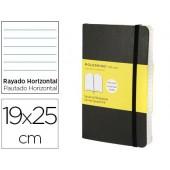 Livro de apontamentos moleskine 19 x 25 cm pautado 192 folhas capa flexivel cor preto fecho elastico