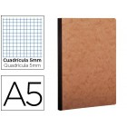 Caderno moleskine capa cartolina a5 quadriculado 5 mm 96 folhas cor kraft