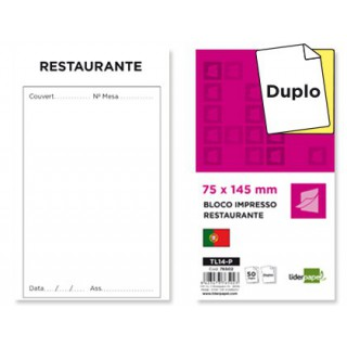 Bloco liderpapel restaurante 145x75 mm original e copia texto em portugues
