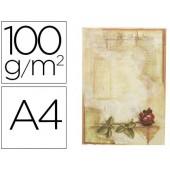 Papel pergamino liderpapel din a4 certificado con rosa 100 g/m2 paquete de 12 hojas