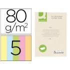 Papel de cor q-connect din a4 80 gr 5 cores sortidas embalagem de 500 folhas
