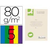 Papel de cor q-connect din a4 5 cores sortidas embalagem de 500 folhas