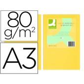 Papel de cor q-connect din a3 80gr amarelo embalagem de 500 folhas