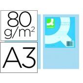 Papel de cor q-connect din a3 80gr azul embalagem de 500 folhas