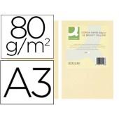 Papel de cor q-connect din a3 80gr creme embalagem de 500 folhas