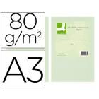 Papel de cor q-connect din a3 80 gr verde embalagem de 500 folhas