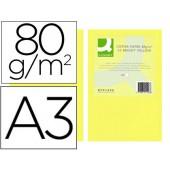 Papel de cor q-connect din a3 80gr amarelo intenso embalagem de 500 folhas