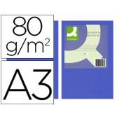 Papel de cor q-connect din a3 80gr azul intenso embalagem de 500 folhas