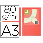 Papel de cor q-connect din a3 80gr vermelho intenso embalagem de 500 folhas