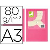 Papel de cor q-connect din a3 80gr rosa intenso embalagem de 500 folhas