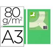 Papel de cor q-connect din a3 80gr verde intenso embalagem de 500 folhas