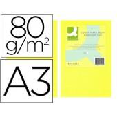 Papel de cor q-connect din a3 80gr amarelo neon embalagem de 500 folhas
