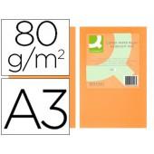 Papel de cor q-connect din a3 80gr laranja neon embalagem de 500 folhas
