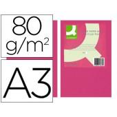Papel de cor q-connect din a3 80gr rosa neon embalagem de 500 folhas