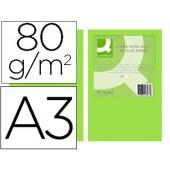 Papel de cor q-connect din a3 80gr verde neon embalagem de 500 folhas