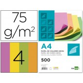 Papel de cor liderpapel din a4 75 gr pack de 500 quatro cores neon sortidas