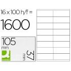 Etiquetas adesivas a4. q-connect. 105 x 37 mm
